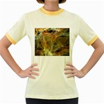 Slate Stone Fractal Earth Tone Women s Fitted Ringer T-Shirt