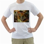 Slate Stone Fractal Earth Tone White T-Shirt