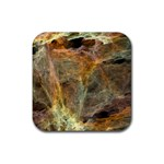 Slate Stone Fractal Earth Tone Rubber Coaster (Square)