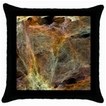 Slate Stone Fractal Earth Tone Throw Pillow Case (Black)