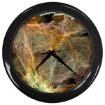 Slate Stone Fractal Earth Tone Wall Clock (Black)