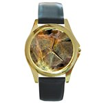 Slate Stone Fractal Earth Tone Round Gold Metal Watch