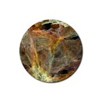 Slate Stone Fractal Earth Tone Rubber Round Coaster (4 pack)