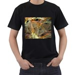 Slate Stone Fractal Earth Tone Black T-Shirt