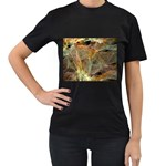 Slate Stone Fractal Earth Tone Women s Black T-Shirt