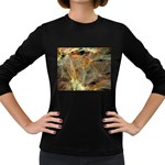 Slate Stone Fractal Earth Tone Women s Long Sleeve Dark T-Shirt
