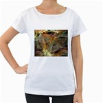 Slate Stone Fractal Earth Tone Maternity White T-Shirt