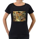Slate Stone Fractal Earth Tone Maternity Black T-Shirt
