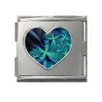 Turquoise Ice Crystal Fantasy Mega Link Heart Italian Charm (18mm)