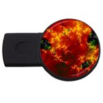 Red Hellstorm Goth Punk Fractal USB Flash Drive Round (1 GB)