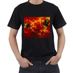 Red Hellstorm Goth Punk Fractal Black T-Shirt