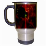 Red Hellstorm Goth Punk Fractal Travel Mug (Silver Gray)