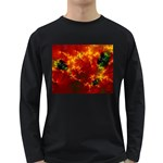 Red Hellstorm Goth Punk Fractal Long Sleeve Dark T-Shirt