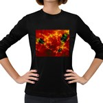 Red Hellstorm Goth Punk Fractal Women s Long Sleeve Dark T-Shirt