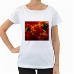 Red Hellstorm Goth Punk Fractal Maternity White T-Shirt