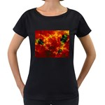 Red Hellstorm Goth Punk Fractal Maternity Black T-Shirt