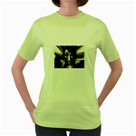 Gothic Girl in Computer Fantasy Women s Green T-Shirt