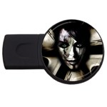 Gothic Girl in Computer Fantasy USB Flash Drive Round (2 GB)