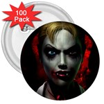 Gothic Blonde Vampire Goth 3  Button (100 pack)