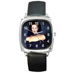Gothic Girl Black and Blue Square Metal Watch