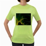 Blue Moon Mandelbrot Fractal Fantasy Women s Green T-Shirt