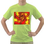 Burning Yellow Flame Fire Fractal Green T-Shirt
