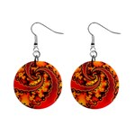 Burning Yellow Flame Fire Fractal 1  Button Earrings