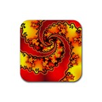 Burning Yellow Flame Fire Fractal Rubber Coaster (Square)