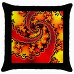Burning Yellow Flame Fire Fractal Throw Pillow Case (Black)
