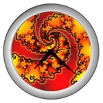 Burning Yellow Flame Fire Fractal Wall Clock (Silver)