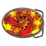 Burning Yellow Flame Fire Fractal Belt Buckle
