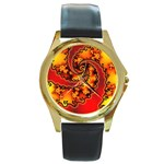 Burning Yellow Flame Fire Fractal Round Gold Metal Watch