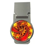 Burning Yellow Flame Fire Fractal Money Clip (Round)
