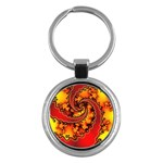 Burning Yellow Flame Fire Fractal Key Chain (Round)
