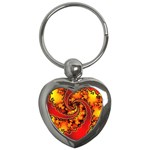 Burning Yellow Flame Fire Fractal Key Chain (Heart)