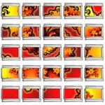 Burning Yellow Flame Fire Fractal 9mm Italian Charm (25 pack)