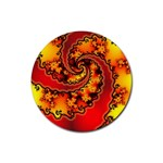 Burning Yellow Flame Fire Fractal Rubber Coaster (Round)