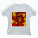 Burning Yellow Flame Fire Fractal Kids White T-Shirt