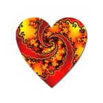 Burning Yellow Flame Fire Fractal Magnet (Heart)