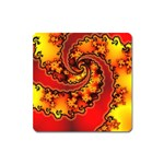 Burning Yellow Flame Fire Fractal Magnet (Square)