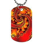 Burning Yellow Flame Fire Fractal Dog Tag (One Side)