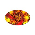 Burning Yellow Flame Fire Fractal Sticker Oval (100 pack)