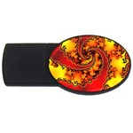 Burning Yellow Flame Fire Fractal USB Flash Drive Oval (2 GB)