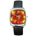 Burning Yellow Flame Fire Fractal Square Metal Watch