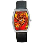 Burning Yellow Flame Fire Fractal Barrel Style Metal Watch