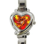 Burning Yellow Flame Fire Fractal Heart Italian Charm Watch