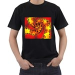 Burning Yellow Flame Fire Fractal Black T-Shirt