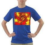 Burning Yellow Flame Fire Fractal Dark T-Shirt
