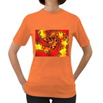 Burning Yellow Flame Fire Fractal Women s Dark T-Shirt