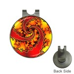 Burning Yellow Flame Fire Fractal Golf Ball Marker Hat Clip